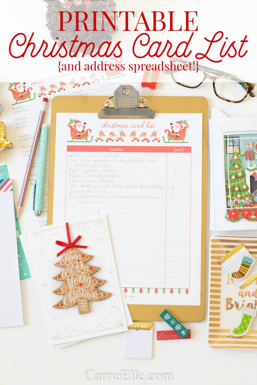 image relating to Printable Christmas Card List referred to as Printable Xmas Card Record and Xmas Card