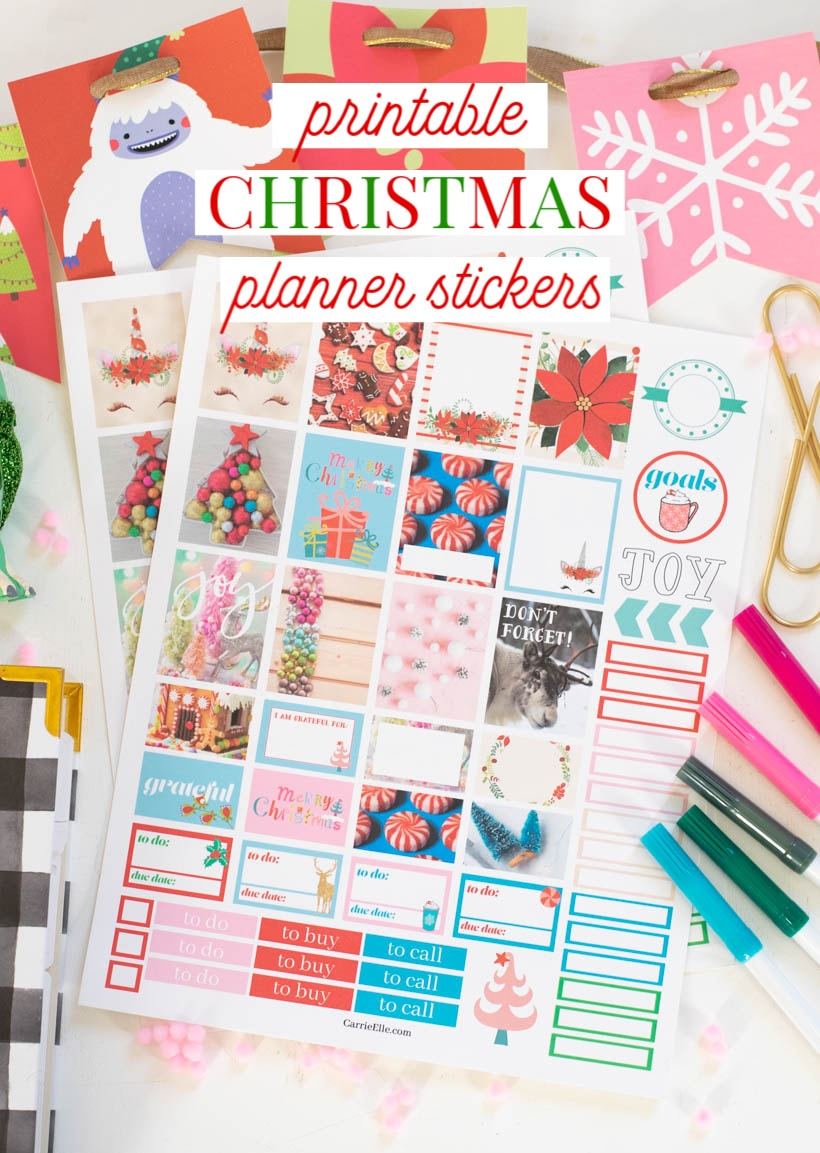 graphic about Printable Christmas Stickers known as Printable Xmas Planner Stickers - Carrie Elle