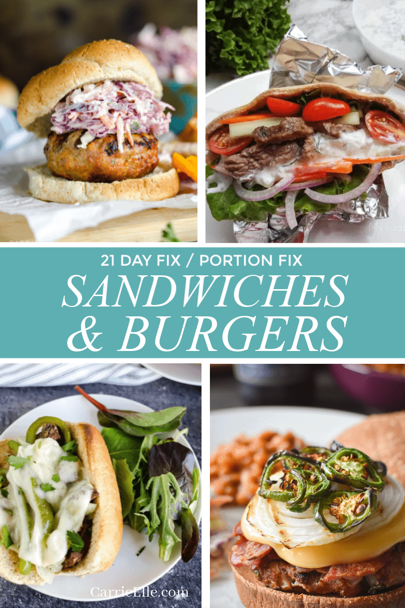 21 Day Fix Portion Fix Sandwiches Burgers