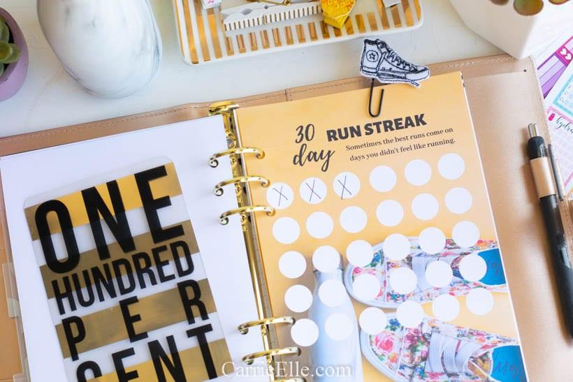 Run Streak Printable A5 Planner Insert