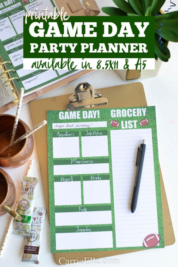 Game Day Party Planner Printable