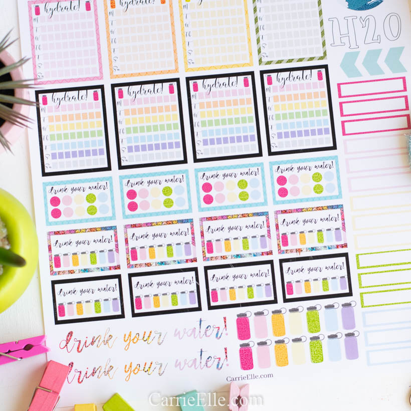 Printable Hydrate Planner Stickers