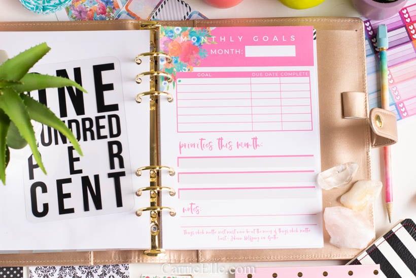 Goals Tracker Printable Carrie Elle