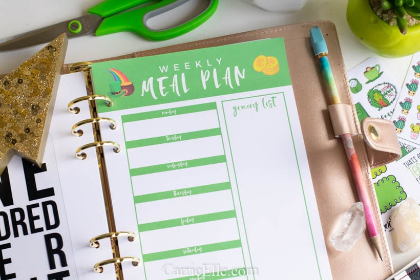 Printable Weekly Meal Planner Insert A5 8.5x11
