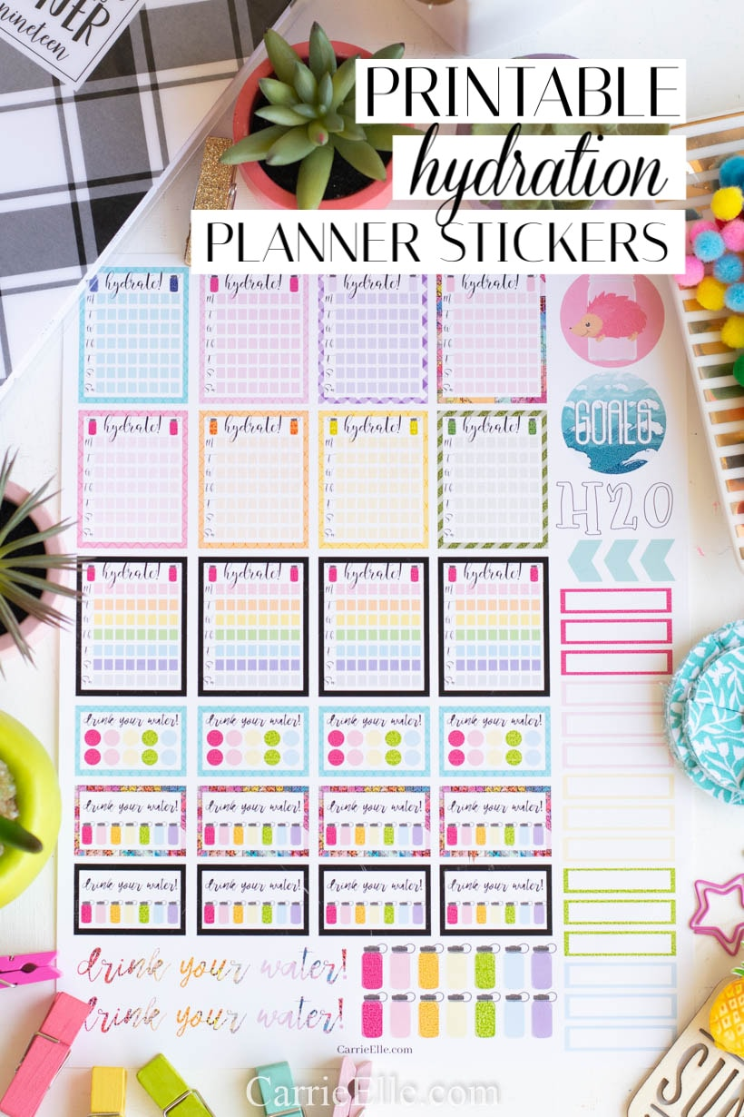 Printable Hydration Planner Stickers