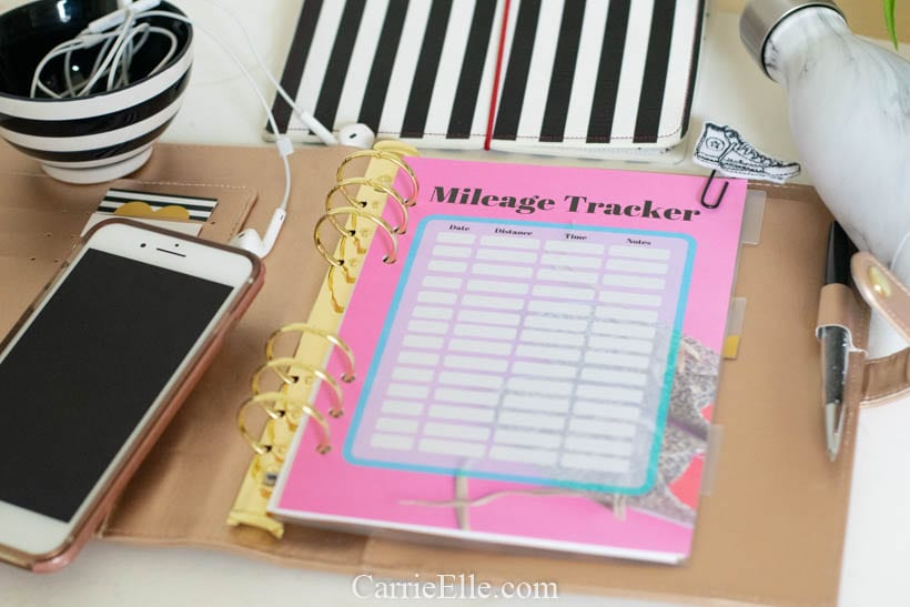 Printable Mileage Tracker A5 Planner Insert