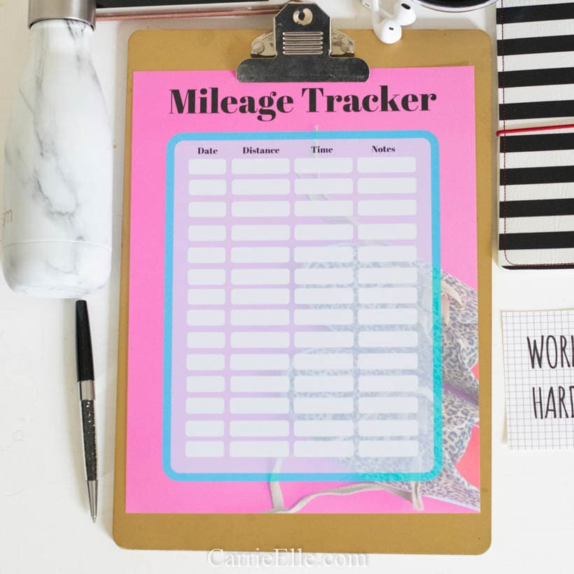 Mileage Tracker Printable A5 8.5x11