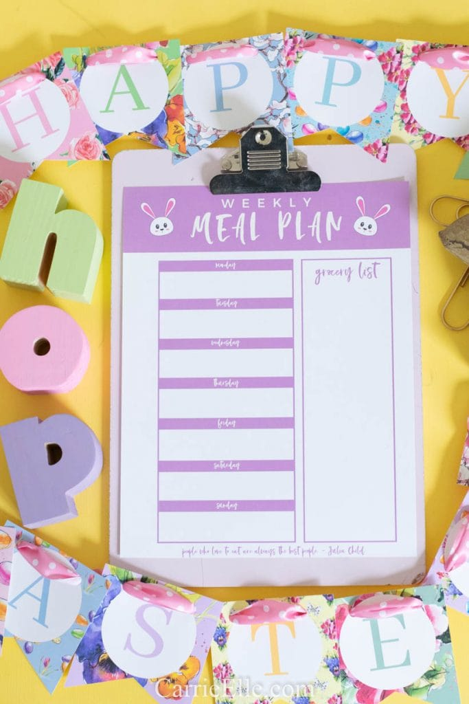 Printable Easter Meal Planning Template CarrieElle.com