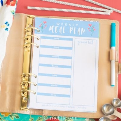 Printable Weekly Meal Planning Template A5