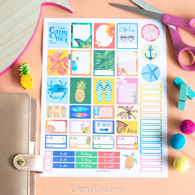 Printable Beach Planner Stickers