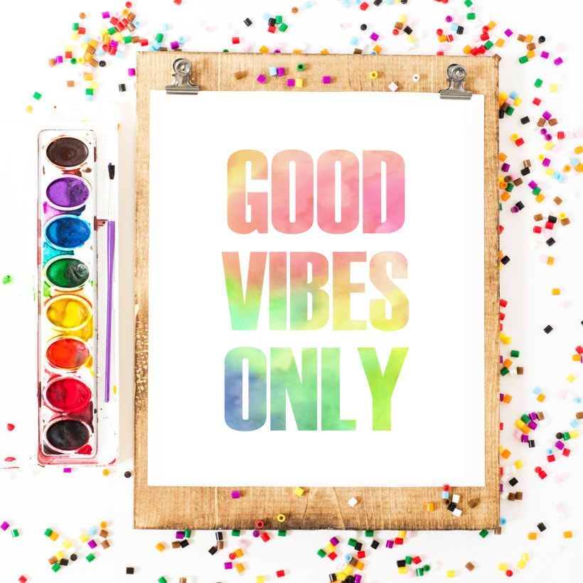 Good Vibes Only Rainbow Watercolor Printable Art