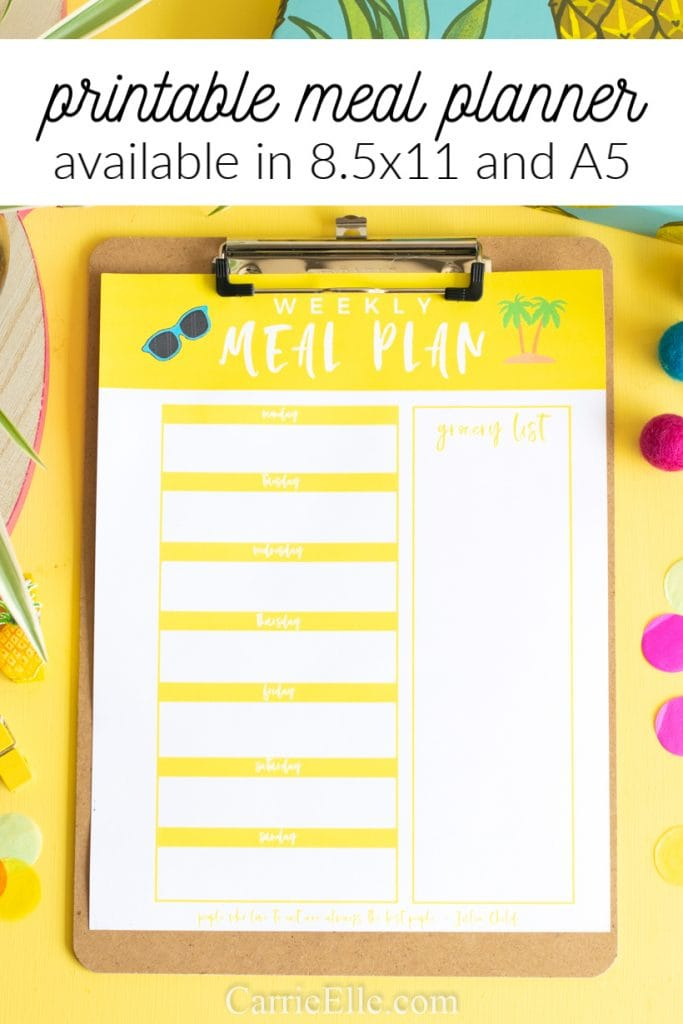 photo about Weekly Meal Planning Printable named Printable Weekly Dinner Planner Template for June - Carrie Elle