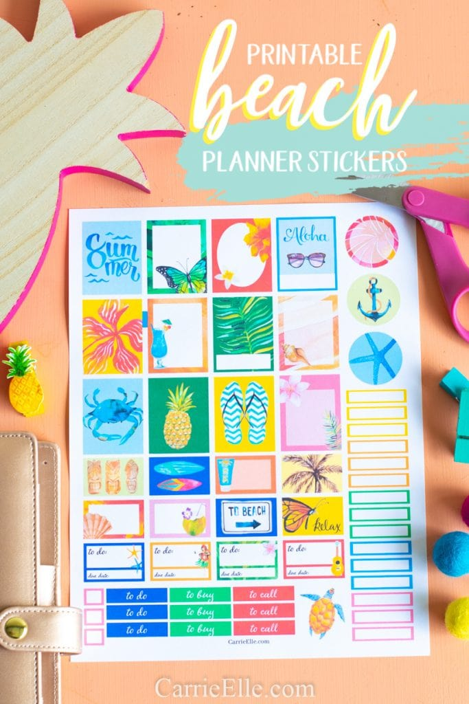 graphic relating to Free Printable Stickers known as No cost Printable Beach front Planner Stickers - Carrie Elle