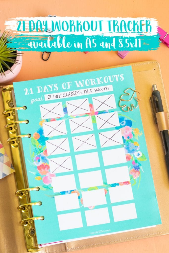 graphic relating to Workout Tracker Printable titled Printable 21 Working day Health Tracker - Carrie Elle