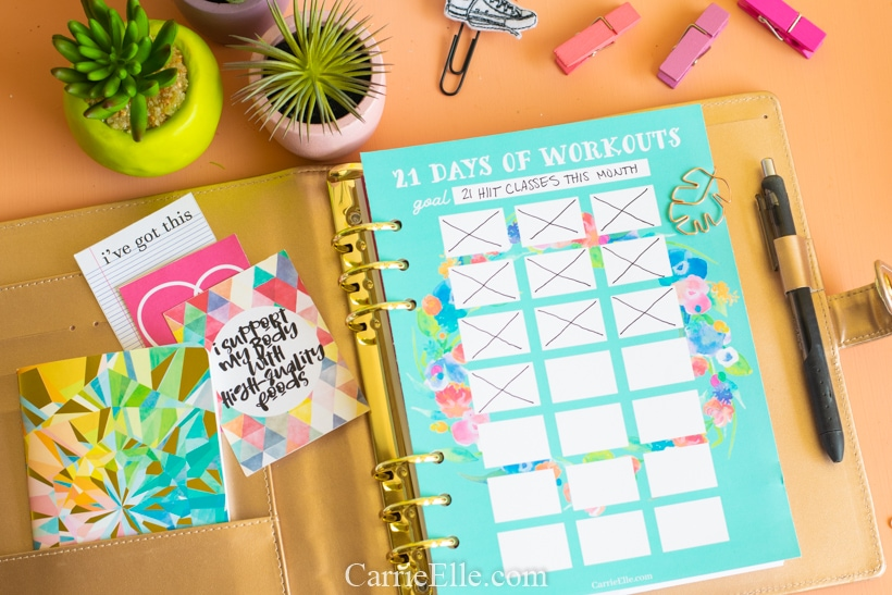 21 Day Workout Tracker Printable CarrieElle.com