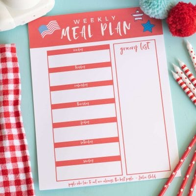 Printable Weekly Meal Planner for July