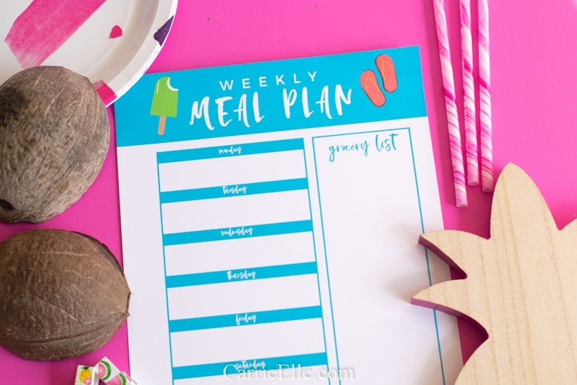 Printable Weekly Meal Planner Template for August Summer Theme