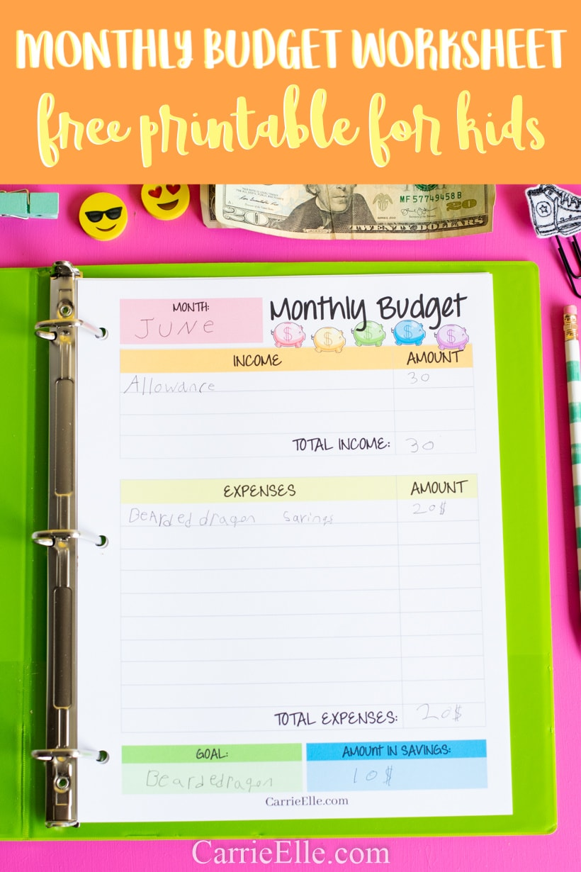 Monthly Budget Worksheet Printable for Kids