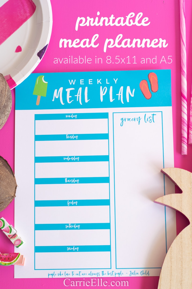 Printable Meal Planner for August Summer Theme