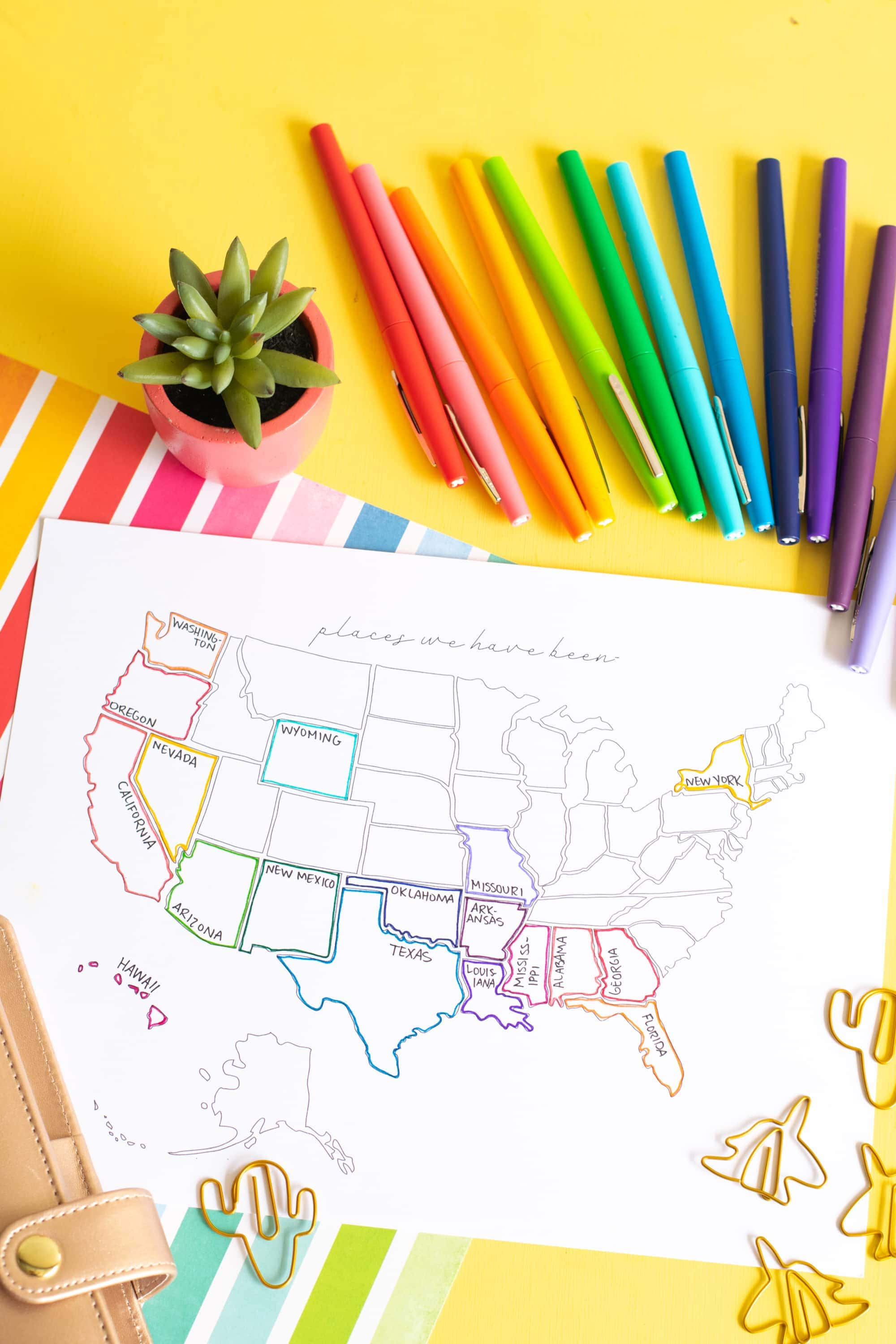 Printable USA Travel Map - Carrie Elle