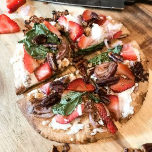Strawberry Feta Whole Wheat Pizza with Buttered Pecans