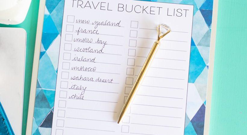 Printable Travel Bucket List