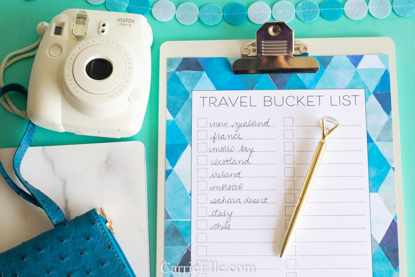 Printable Travel Bucket List CarrieElle.com