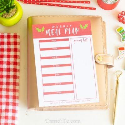 Printable Weekly Meal Planner for December