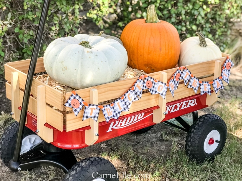 Printable Trick or Treat Banner for Radio Flyer CarrieElle.com