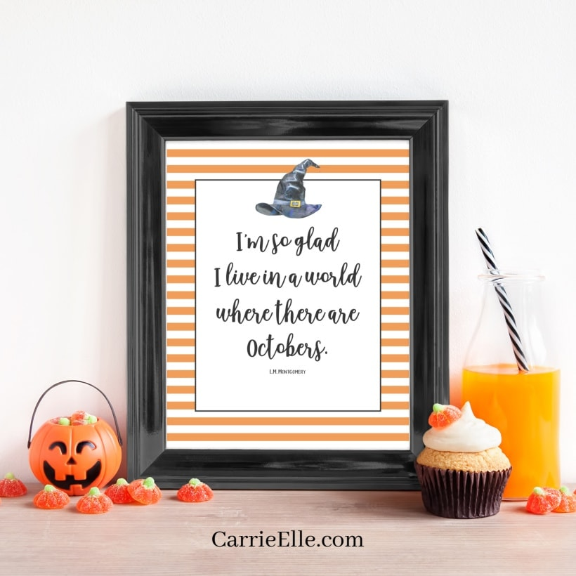 8x10 October Quote Wall Art