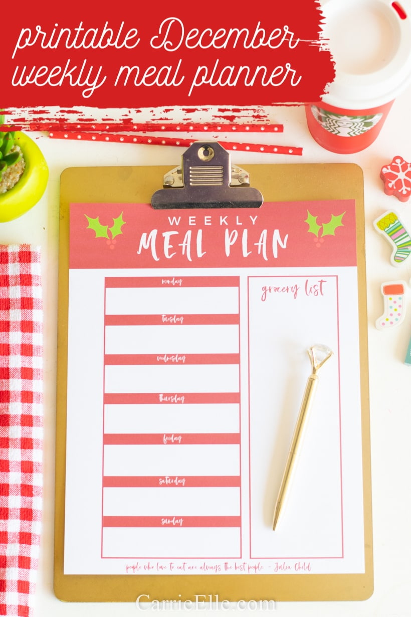 Printable December Meal Planner