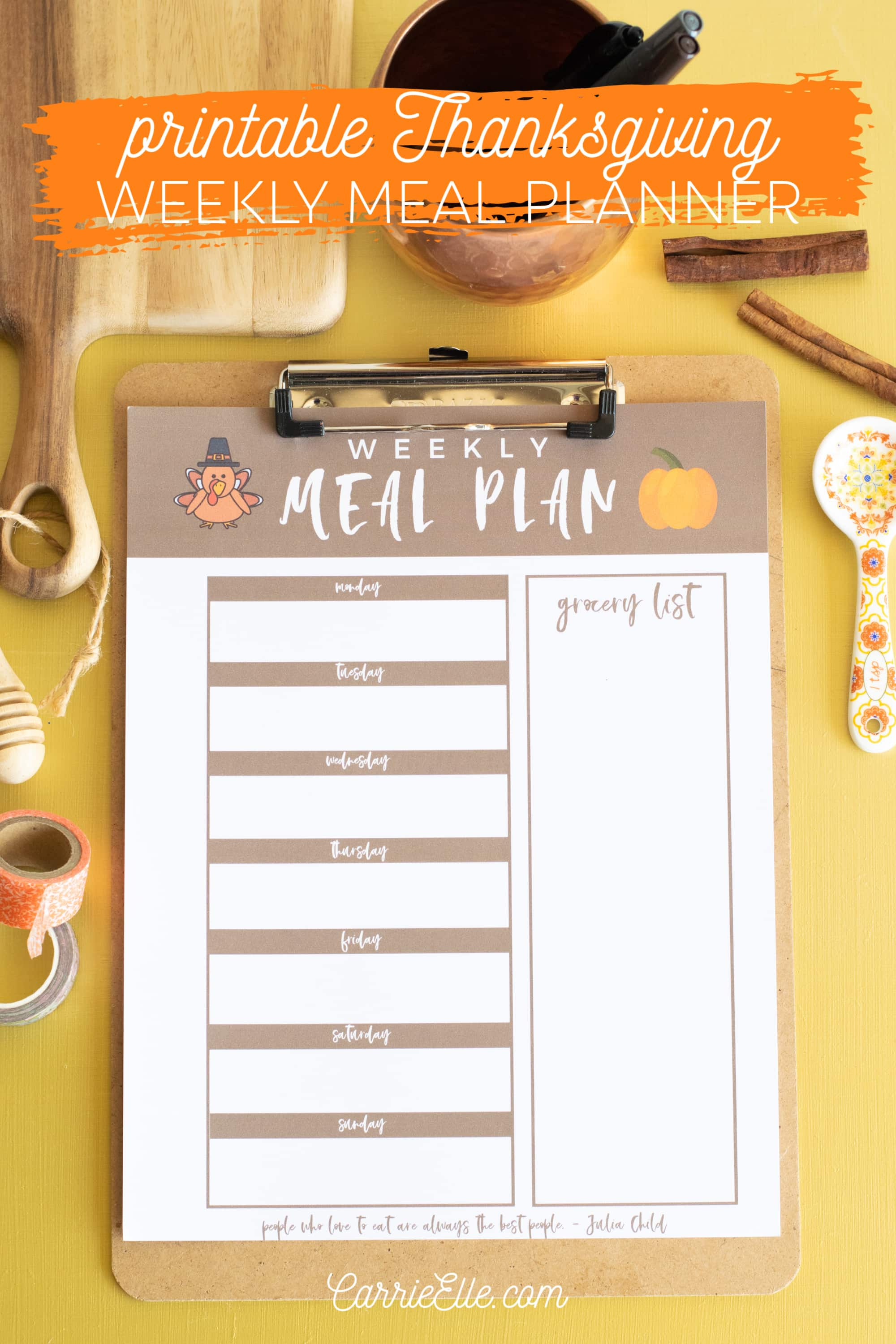 Printable Weekly Meal Planner for November