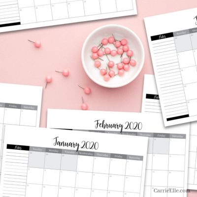 Printable Black and White 2020 Calendar