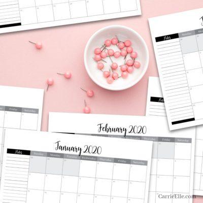 Free Printable 2020 Calendar CarrieElle