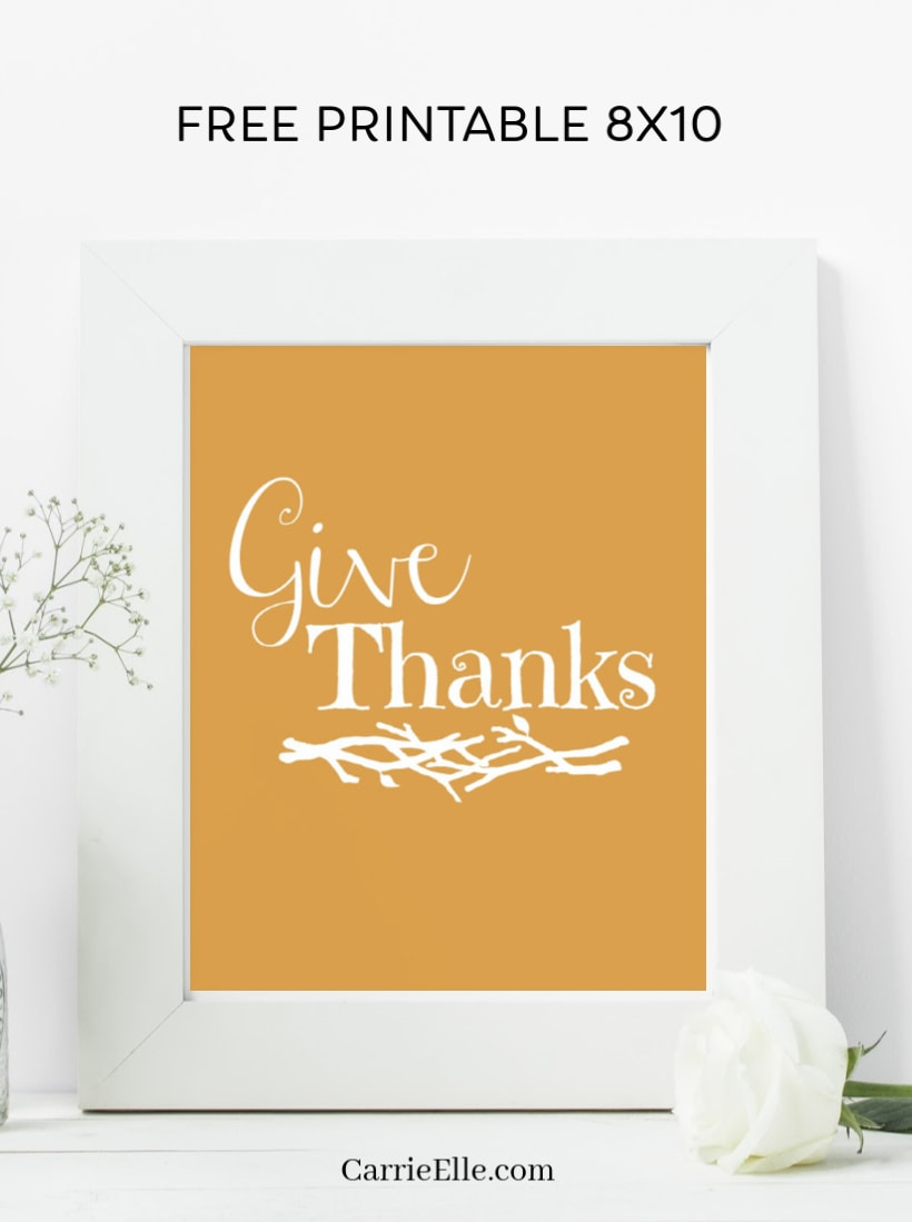 Printable Give Thanks Wall Art CarrieElle.com