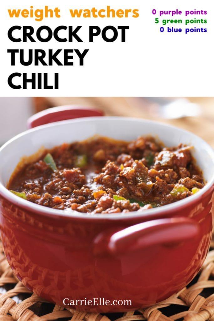 WW Crock Pot Turkey Chili 0 Pts CarrieElle.com