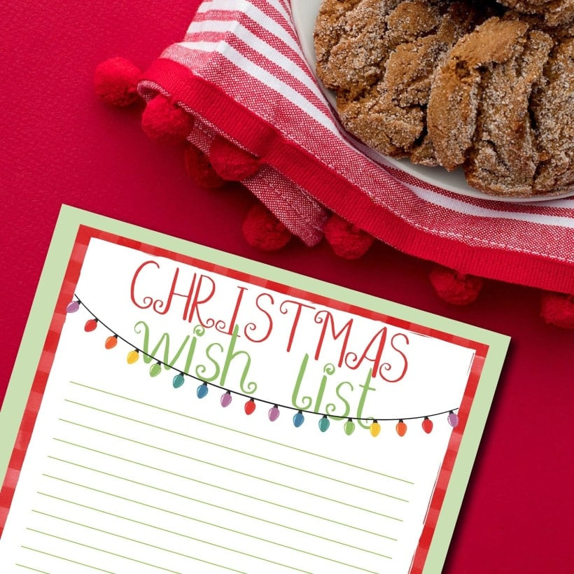 Printable Christmas Wish List CarrieElle,com