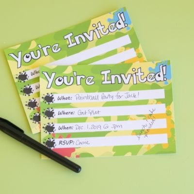 Printable Paintball Party Invitations