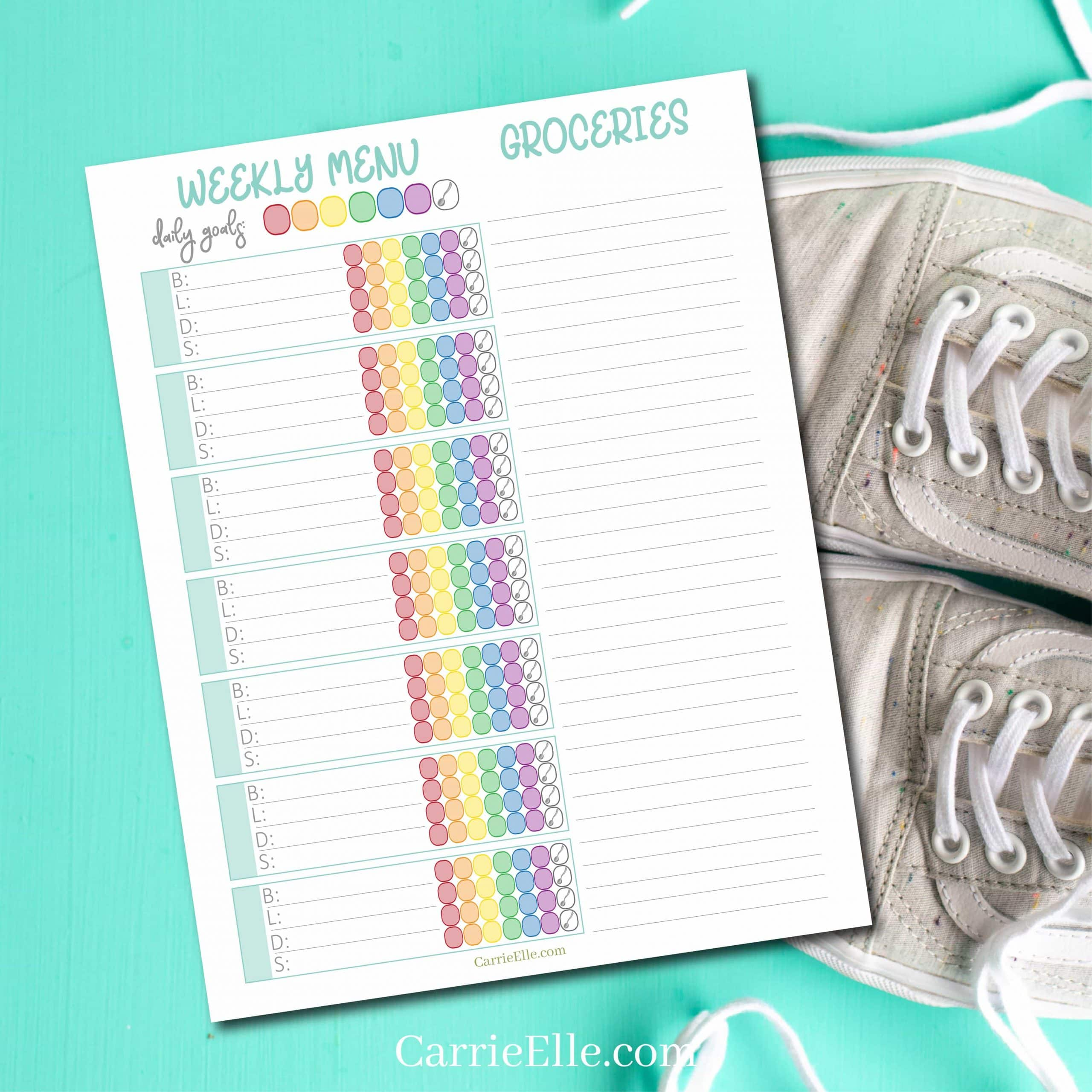 Printable 21 Day Fix Weekly Meal Planner Carrie Elle
