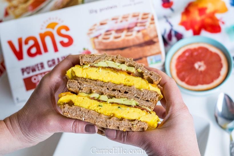 Protein Waffle Breakfast Sandwich CarrieElle.com