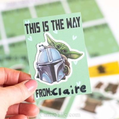 Printable Mandalorian Baby Yoda Valentines {Treat-Free}