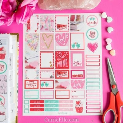 Printable Valentines Day Planner Stickers CarrieElle.com