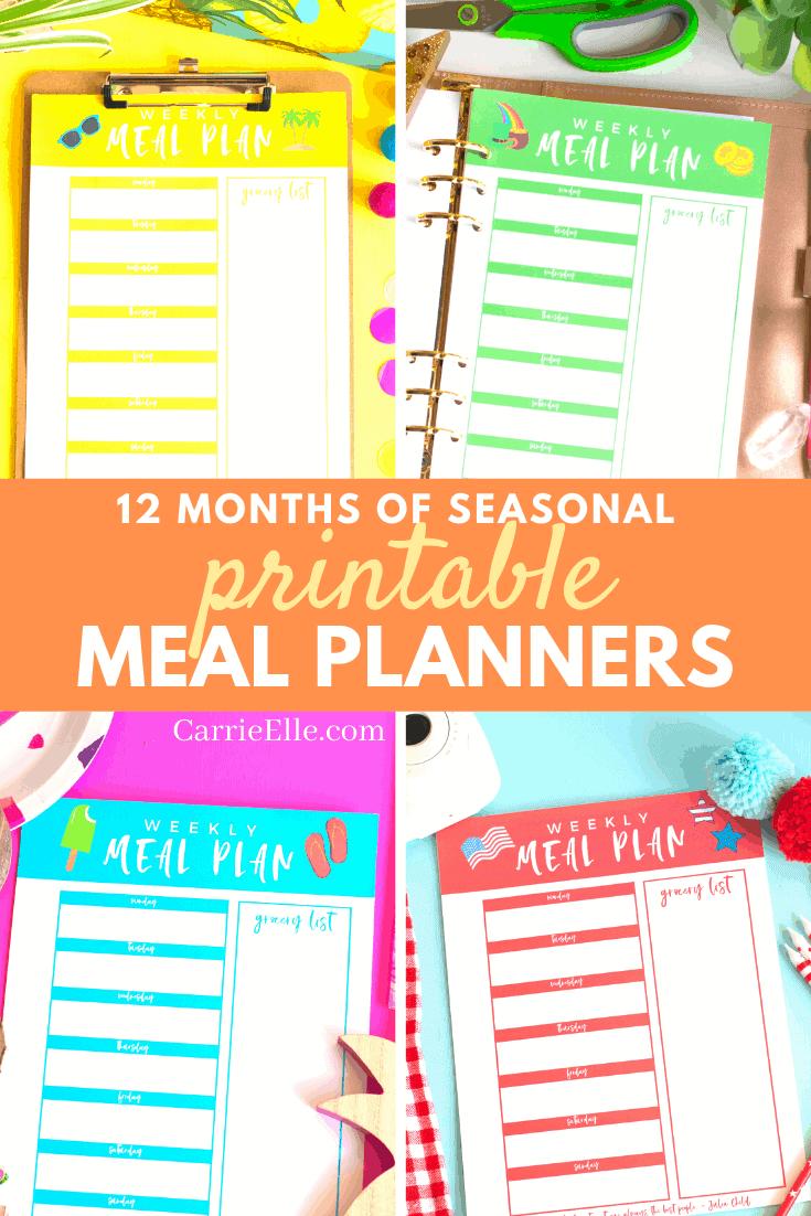 Printable Seasonal Meal Planners CarrieElle.com