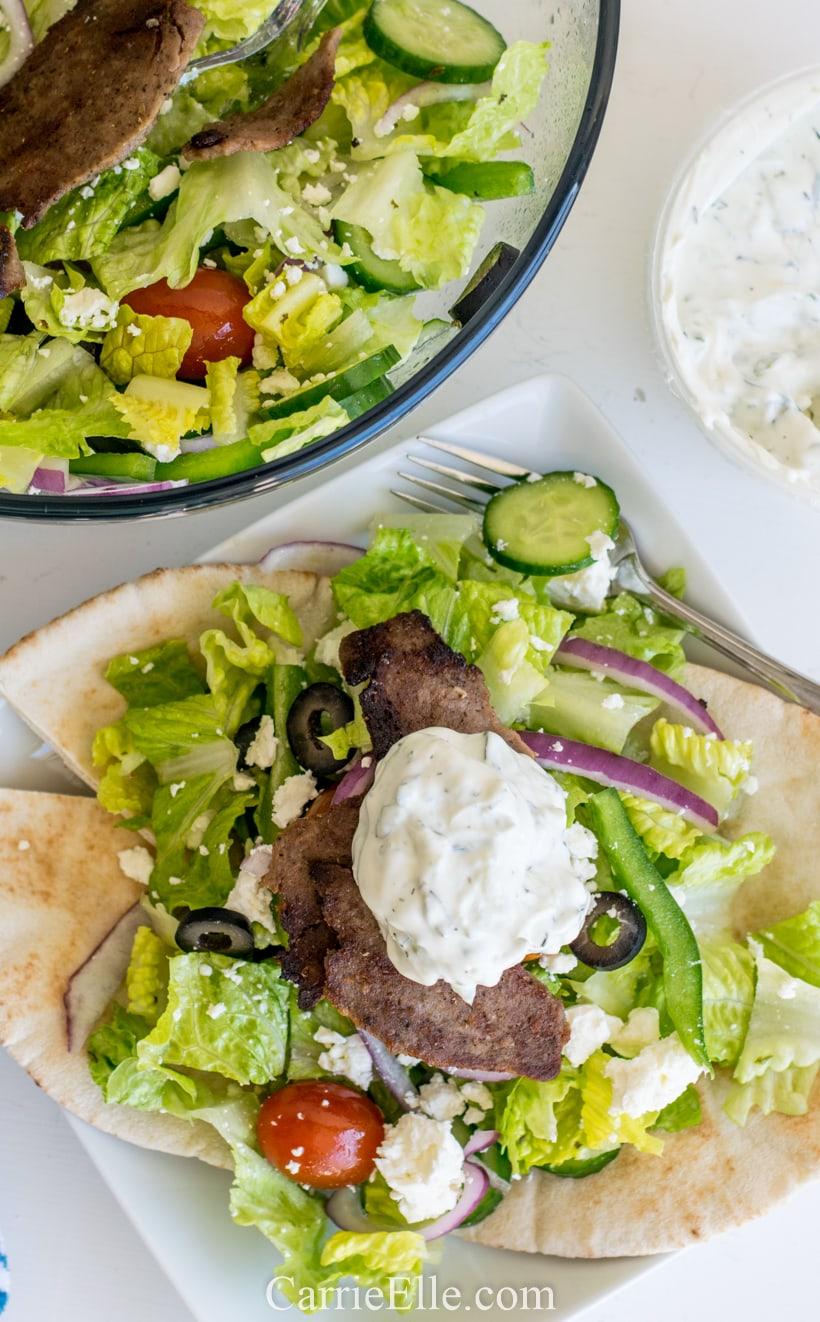 Greek Gyro Salad CarrieElle.com