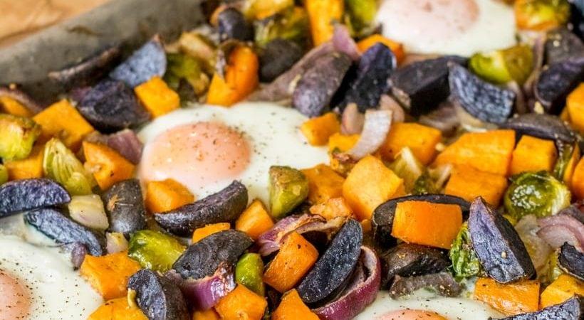 Sheet Pan Sweet Potato Hash with Eggs