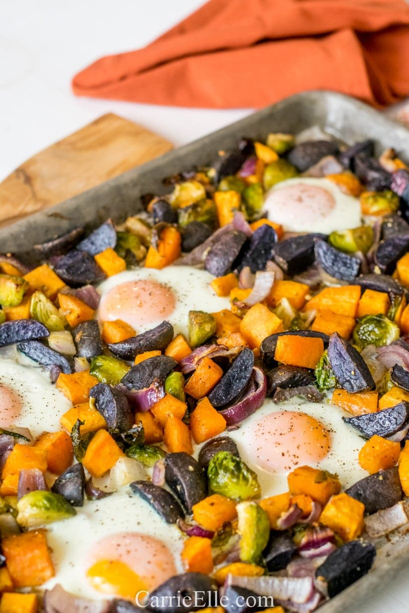 Sheet Pan Sweet Potato Breakfast Hash CarrieElle.com