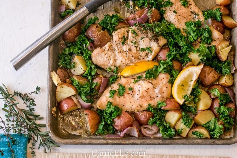 Sheet Pan Herb-Roasted Chicken CarrieElle.com
