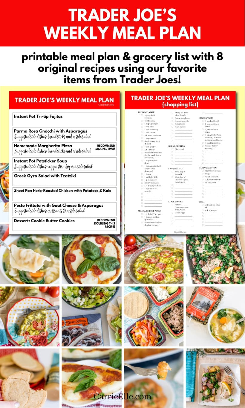 Trader Joe's Weekly Meal Plan with Grocery List