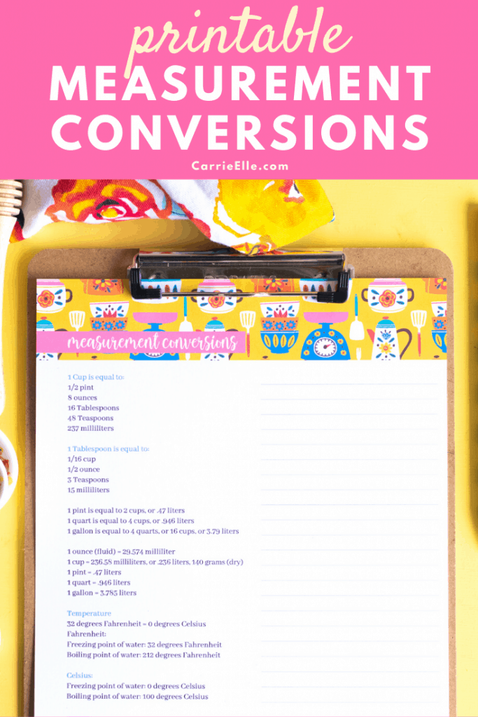 Measurement Conversion Printable CarrieElle.com