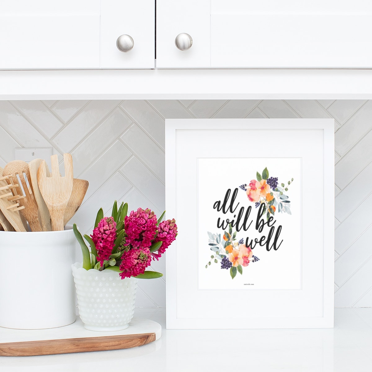 Printable All Will Be Well Floral 8x10 CarrieElle